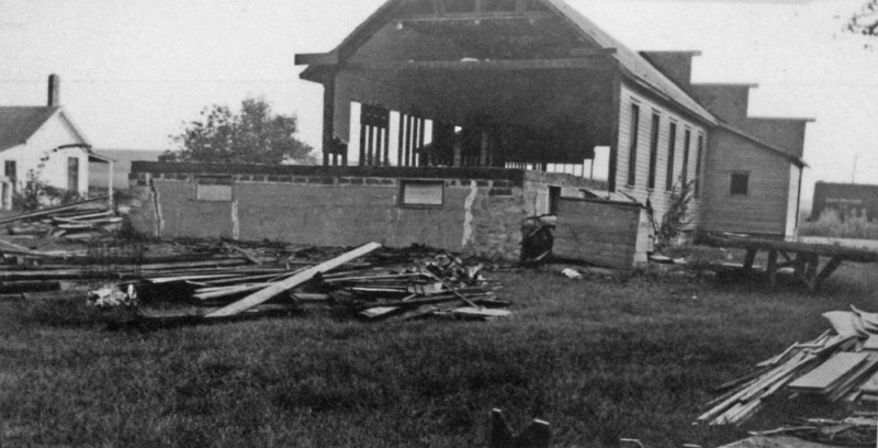 Dismantling the old hall in 1954, rear view.