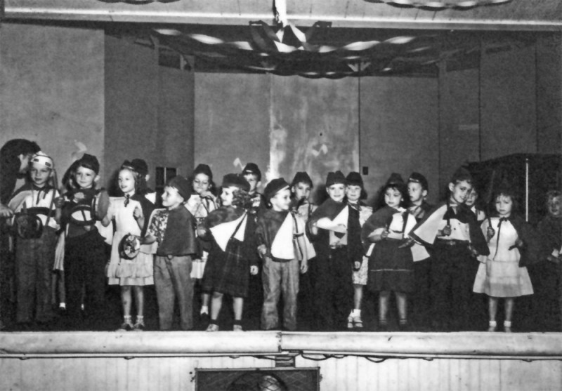 Ely Elementary School Students in a stage production in the old Legion Hall, 1950