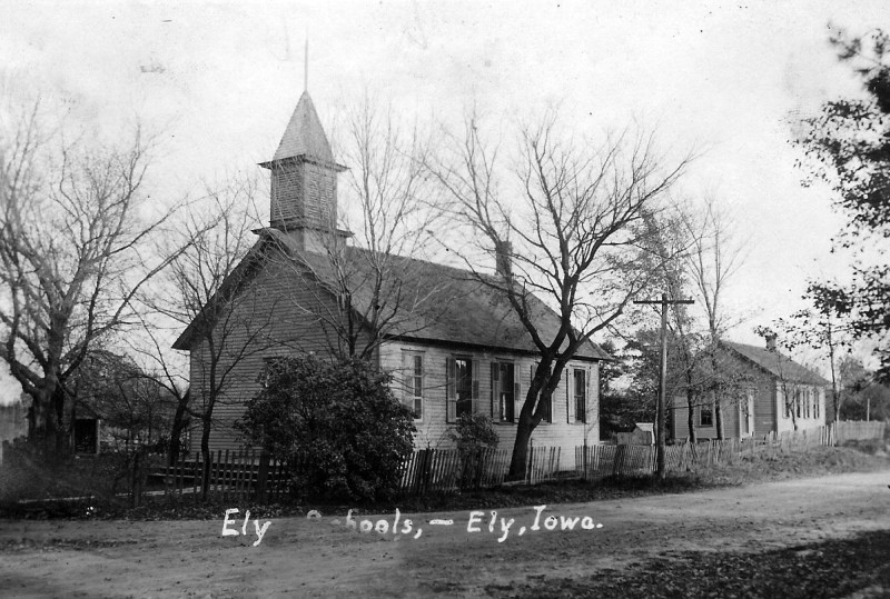 The old Ely school buildings that were dismantled and moved to construct the first Ely Legion Hall.